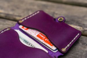 No.38 Personalized Minimalist Hanmade Leather Wallet - Purple-Galen Leather
