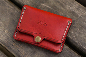No.38 Personalized Minimalist Hanmade Leather Wallet - Red-Galen Leather