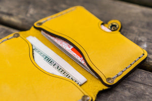 No.38 Personalized Minimalist Hanmade Leather Wallet - Yellow-Galen Leather