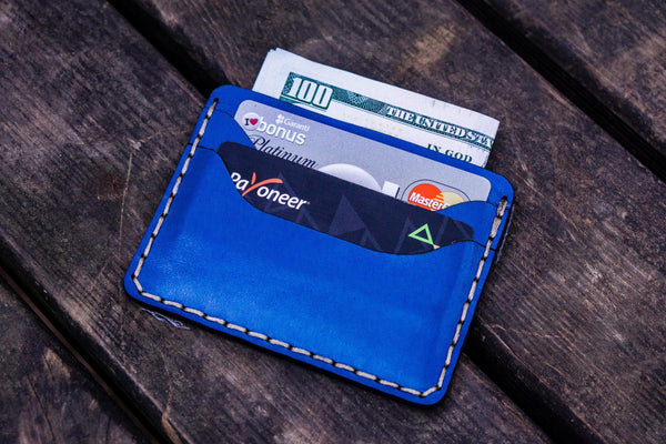 No.40 Handmade Leather Slim Card Wallet - Blue-Galen Leather