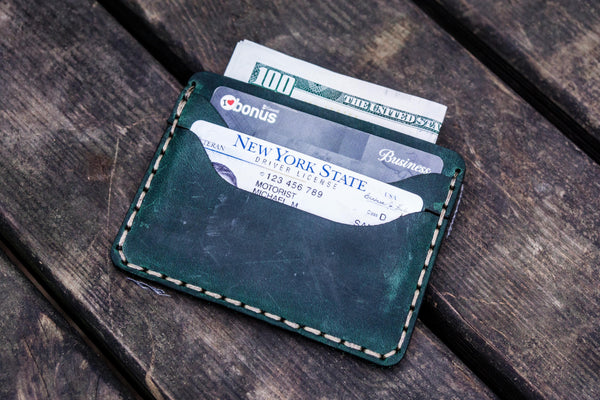 No.40 Handmade Leather Slim Card Wallet - Crazy Horse Forest Green-Galen Leather