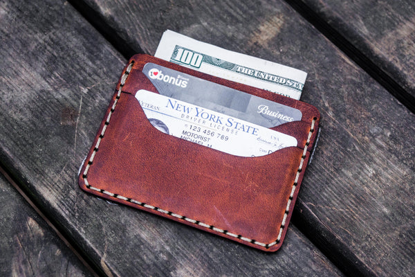 No.40 Handmade Leather Slim Card Wallet - Crazy Horse Orange-Galen Leather