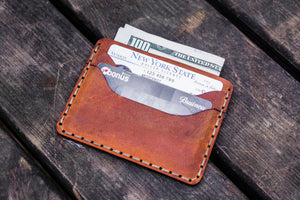 No.40 Handmade Leather Slim Card Wallet - Crazy Horse Tan-Galen Leather