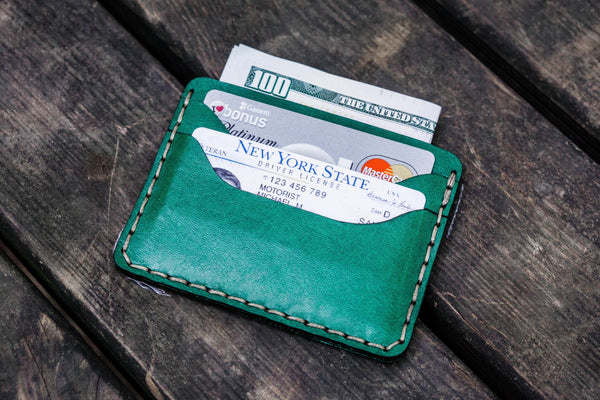 No.40 Handmade Leather Slim Card Wallet - Green-Galen Leather