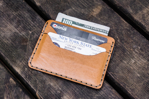 No.40 Handmade Leather Slim Card Wallet - Natural-Galen Leather