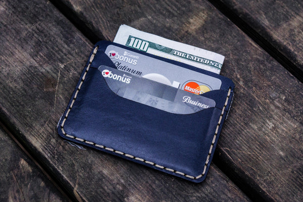 No.40 Handmade Leather Slim Card Wallet - Navy Blue-Galen Leather