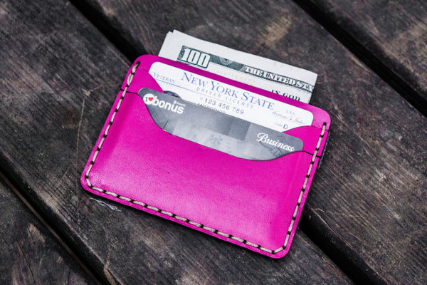 No.40 Handmade Leather Slim Card Wallet - Pink-Galen Leather