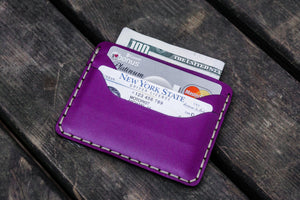 No.40 Handmade Leather Slim Card Wallet - Purple-Galen Leather