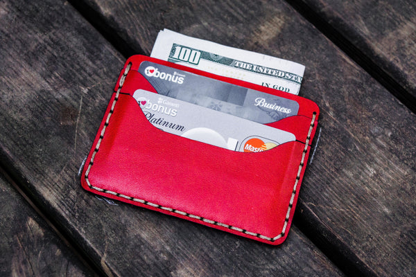 No.40 Handmade Leather Slim Card Wallet - Red-Galen Leather