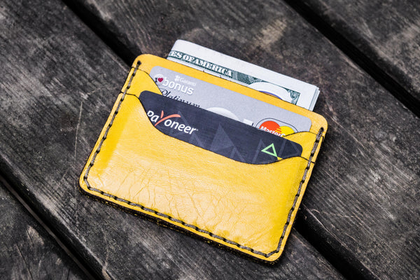 No.40 Handmade Leather Slim Card Wallet - Yellow-Galen Leather