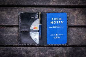 No.44 Personalized Leather Field Notes Cover - Black-Galen Leather