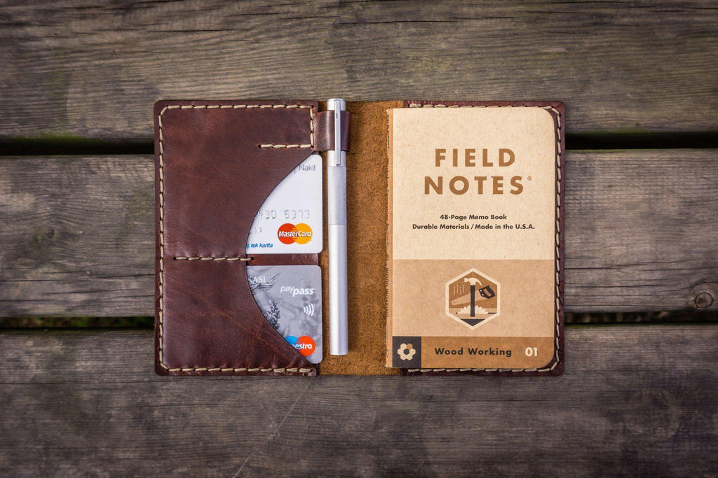 No.44 Personalized Leather Field Notes Cover - Brown - GalenLeather - 1