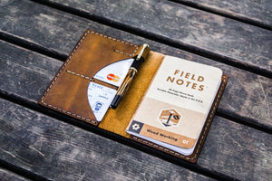 No.44 Personalized Leather Field Notes Cover - Crazy Horse Brown-Galen Leather