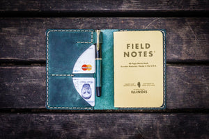 No.44 Personalized Leather Field Notes Cover - Crazy Horse Forest Green-Galen Leather