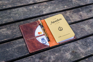 No.44 Personalized Leather Field Notes Cover - Crazy Horse Orange-Galen Leather