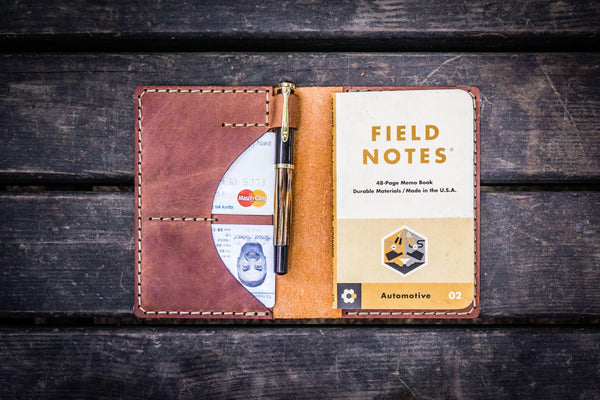 No.44 Personalized Leather Field Notes Cover - Crazy Horse Tan-Galen Leather