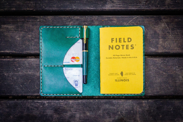 No.44 Personalized Leather Field Notes Cover - Green-Galen Leather