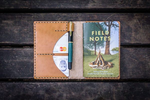 No.44 Personalized Leather Field Notes Cover - Natural-Galen Leather