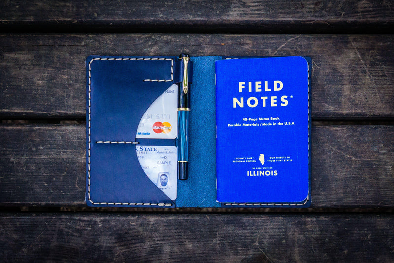 No.44 Personalized Leather Field Notes Cover - Navy Blue-Galen Leather