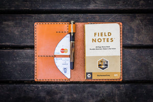No.44 Personalized Leather Field Notes Cover - Orange-Galen Leather