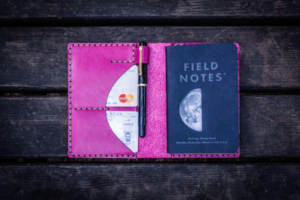 No.44 Personalized Leather Field Notes Cover - Pink-Galen Leather