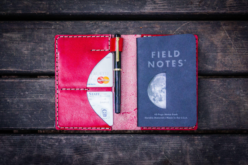 No.44 Personalized Leather Field Notes Cover - Red-2-Galen Leather