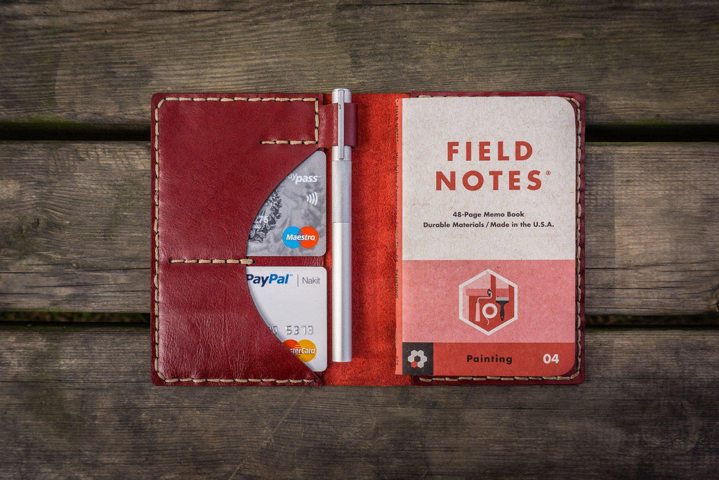 No.44 Personalized Leather Field Notes Cover - Red - GalenLeather - 1