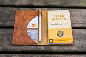 No.44 Personalized Leather Field Notes Cover - Rustic Brown - GalenLeather - 5