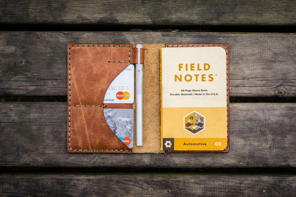 No.44 Personalized Leather Field Notes Cover - Rustic Brown - GalenLeather - 1