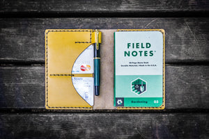 No.44 Personalized Leather Field Notes Cover - Yellow-Galen Leather