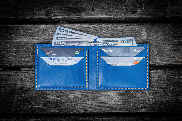 No.48 Personalized Handmade Leather Wallet - Blue-Galen Leather