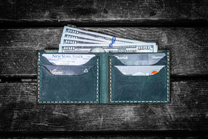 No.48 Personalized Handmade Leather Wallet - Crazy Horse Forest Green-Galen Leather