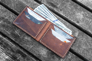 No.48 Personalized Handmade Leather Wallet - Crazy Horse orange-Galen Leather