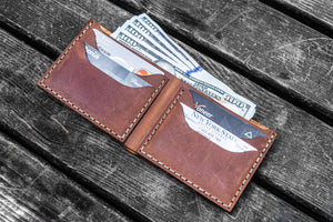 No.48 Personalized Handmade Leather Wallet - Crazy Horse Tan-Galen Leather
