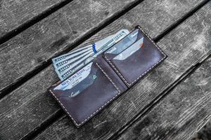 No.48 Personalized Handmade Leather Wallet - Dark Brown-Galen Leather