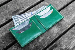 No.48 Personalized Handmade Leather Wallet - Green-Galen Leather