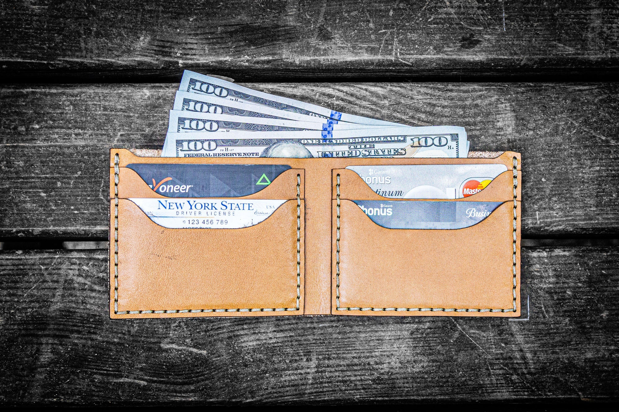 No.48 Personalized Handmade Leather Wallet - Natural-Galen Leather