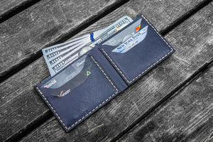 No.48 Personalized Handmade Leather Wallet - Navy Blue-Galen Leather