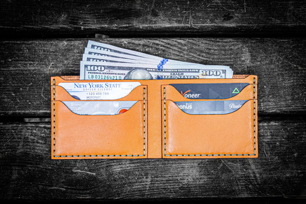 No.48 Personalized Handmade Leather Wallet - Orange-Galen Leather