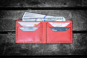 No.48 Personalized Handmade Leather Wallet-Red-Galen Leather
