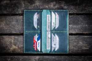 No.49 Handmade Leather Women Wallet - Crazy Horse Forest Green-Galen Leather