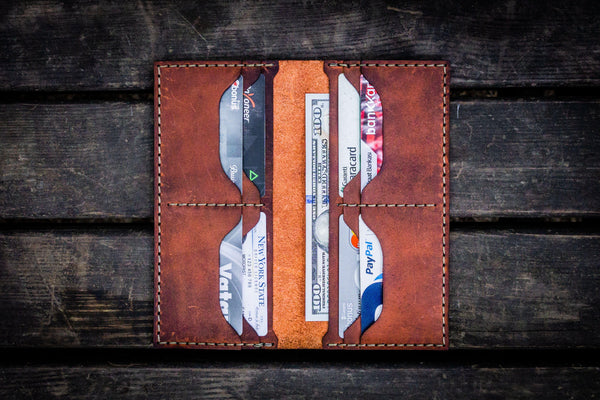 No.49 Handmade Leather Women Wallet - Crazy Horse Orange-Galen Leather