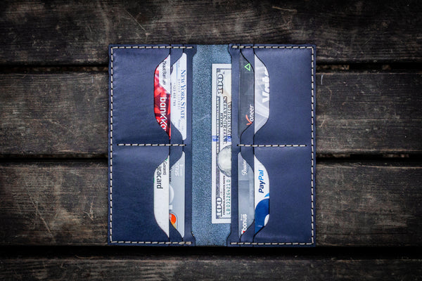 No.49 Handmade Leather Women Wallet - Navy Blue-Galen Leather