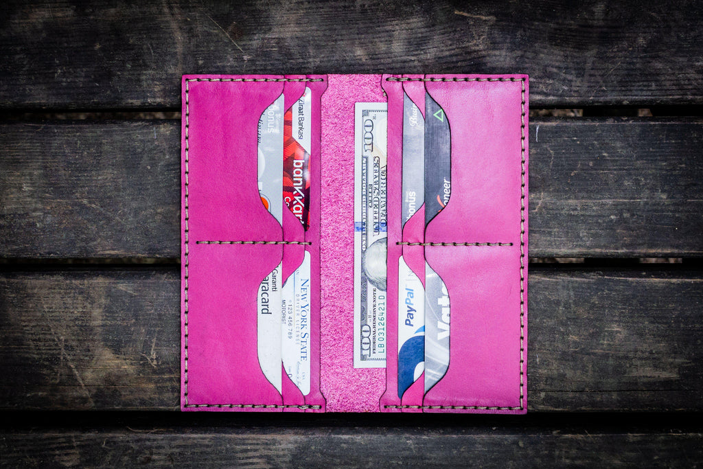 No.49 Handmade Leather Women Wallet - Pink-Galen Leather