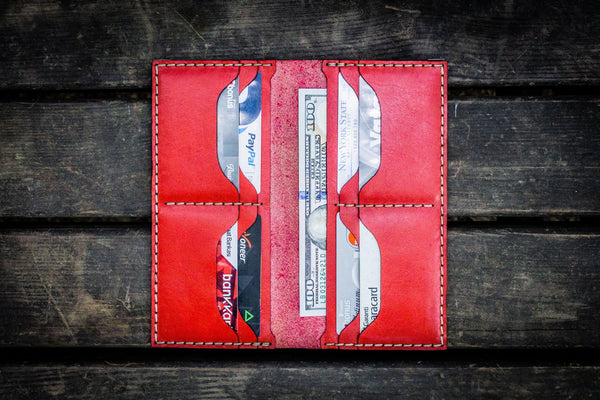 No.49 Handmade Leather Women Wallet - Red-Galen Leather