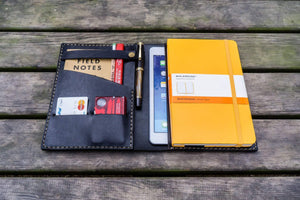 Personalized Leather Journal for iPad Mini & Large Moleskine - Black-Galen Leather