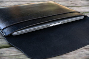 Personalized Leather MacBook Sleeves - Black-Galen Leather