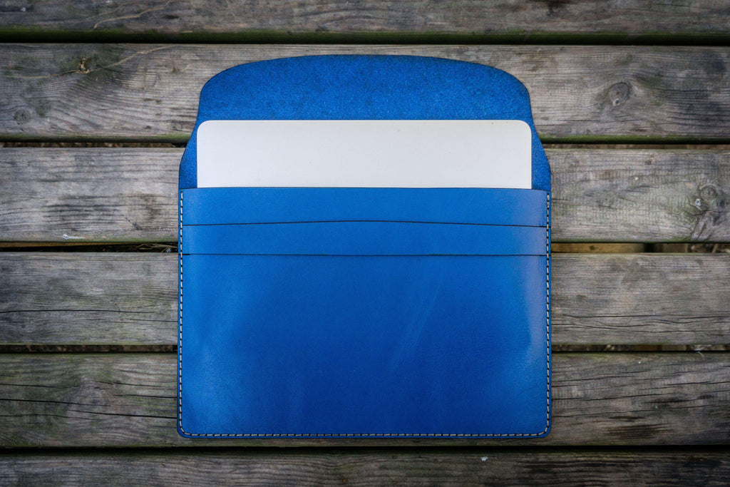 Personalized Leather MacBook Sleeves - Blue-Galen Leather