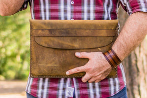 Personalized Leather MacBook Sleeves - Crazy Horse Brown-Galen Leather