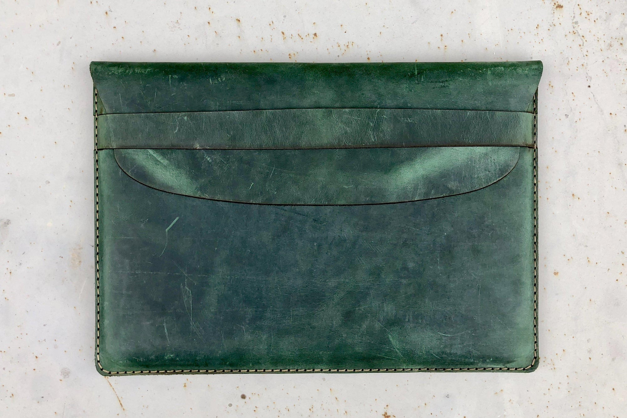 Personalized Leather MacBook Sleeves - Crazy Horse Forest Green-Galen Leather